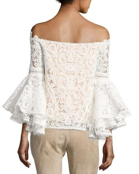 Thea Off-the-Shoulder Lace Top, White