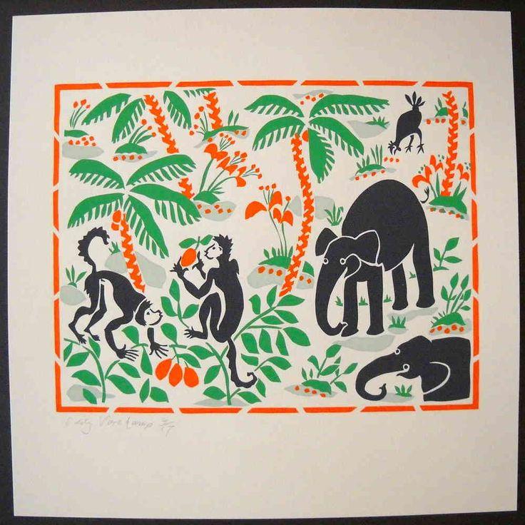 Stencilprint, animals in the woods