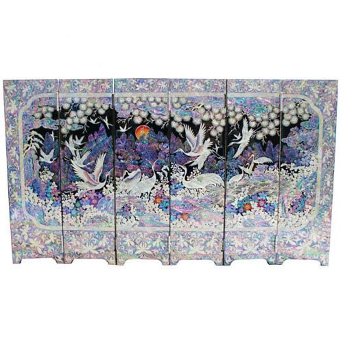 Item Specification    Item name: Mini portable screen room folding divider Lacquer ware inlaid mother of pearl Material: Wood ,Mother of pearl