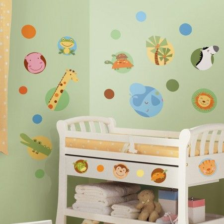 Jungle Animal Polka Dot Wall Decals | RoomMates Peel and Stick Décor
