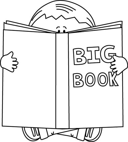 Boy Reading A Big Book Black White Book Clipart Black And White