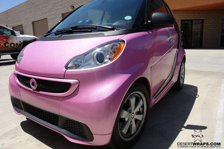 Specialty wrap done by DesertWraps.com. #MetallicPink #SmartCar #VehicleWraps