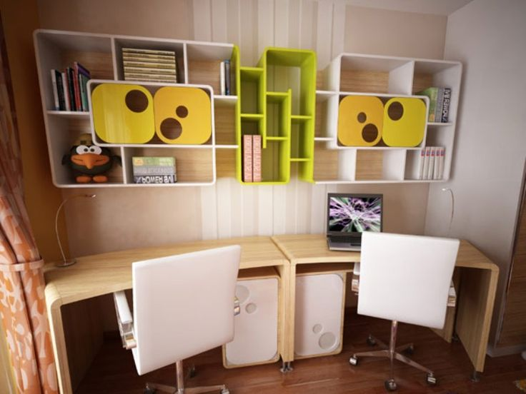 Kids Room: Contemporary Study Room Design Ideas With Modern Plywood Study  Table And White Swivel Chairs Also Minimalist Book Shelving: Original Chiu2026 Part 47