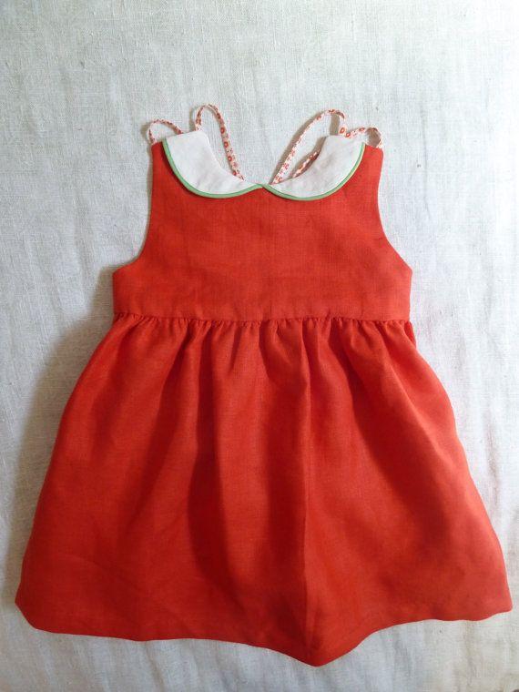 Red Linen Dress with Peter Pan Collar