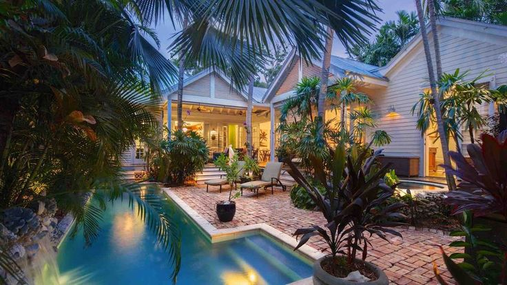 4br3ba private home courtyard pool with waterfall