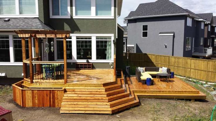 This Cedar Deck Features Two Large Tiers Providing More