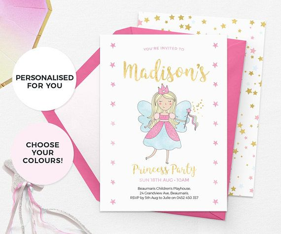 19 best Kids Birthday Invitations images – Fairy Tea Party Invitations