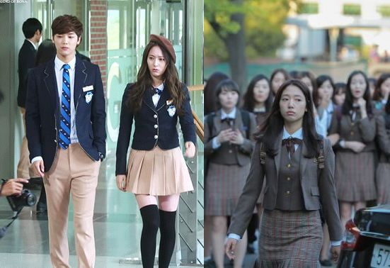This image is a side by side comparison of the school uniforms from the Korean drama, The Heirs. On the left, we see the uniform of an expensive, private high school and on the right, we see that of a public school. In one of the episodes it is mentioned that the private school's uniform is 1 million korean won (roughly 1,000 USD). When the protagonist is given the opportunity to switch into the private school, she is burdened with the steep price of simply adhering to the dress code.