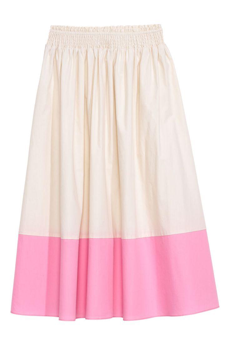 Spódnica do łydki z bawełny - Biały/Różowy - ONA   H&M PL 1