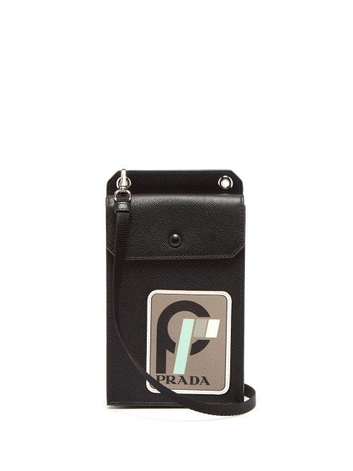 294a9320bb69 PRADA PRADA - LOGO PATCH SAFFIANO LEATHER PHONEHOLDER - MENS - BLACK. #prada  #bags #leather #accessories #cardholder