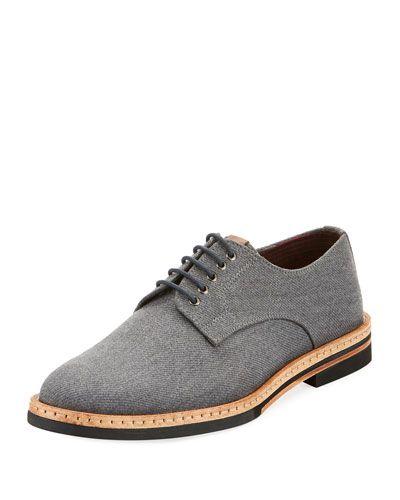 Julius Fabric Low-Heel Oxford, Gray