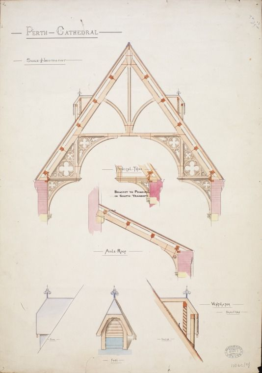 55/6/9k: Perth Cathedral, St. Georges Terrace : plan of aisle roof, principal truss; ventilator (1881). http://encore.slwa.wa.gov.au/iii/encore/record/C__Rb4778158__S55Lw%3D%3D6Lw%3D%3D9__Orightresult__U__X3?lang=eng&suite=def