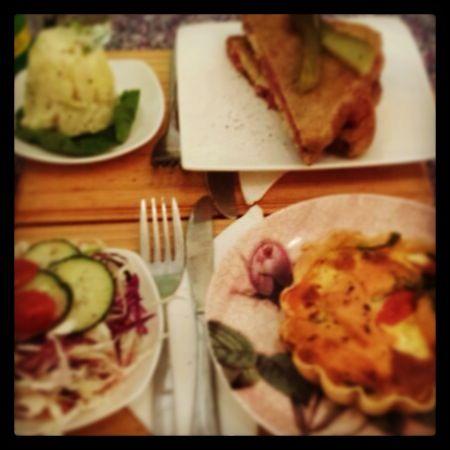 New York deli sandwich, salmon dill tart