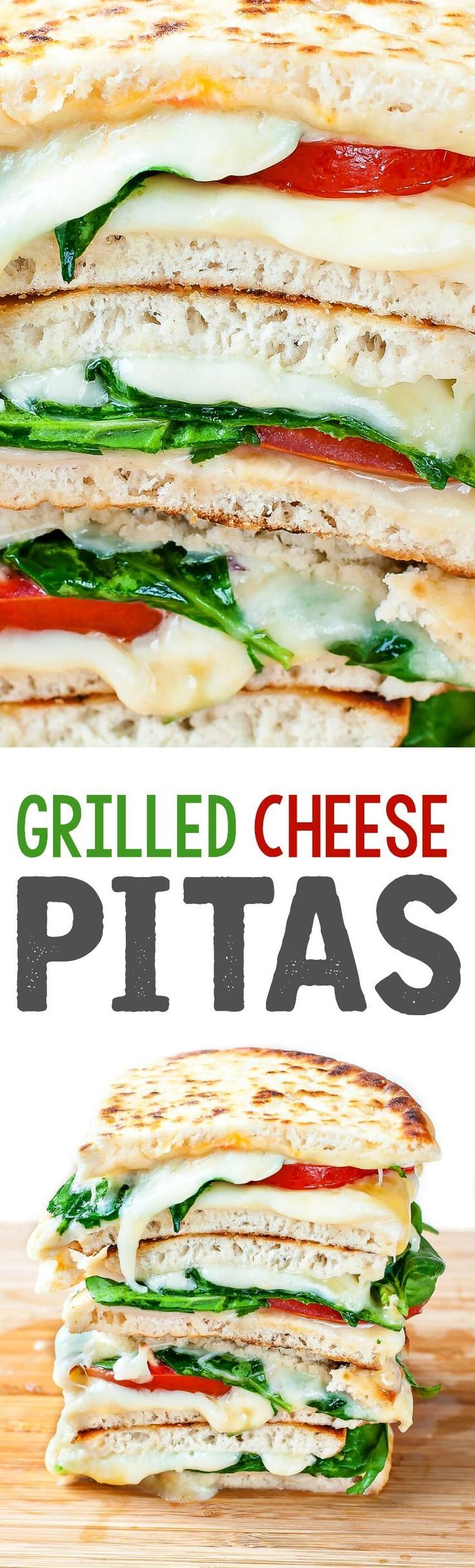 These Spinach and  Tomato Grilled Cheese Pitas jazz up the typical grilled cheese sandwich. Dunk them in your favorite soup or face-plant into them all on their own for a quick and easy lunch that's always a hit!