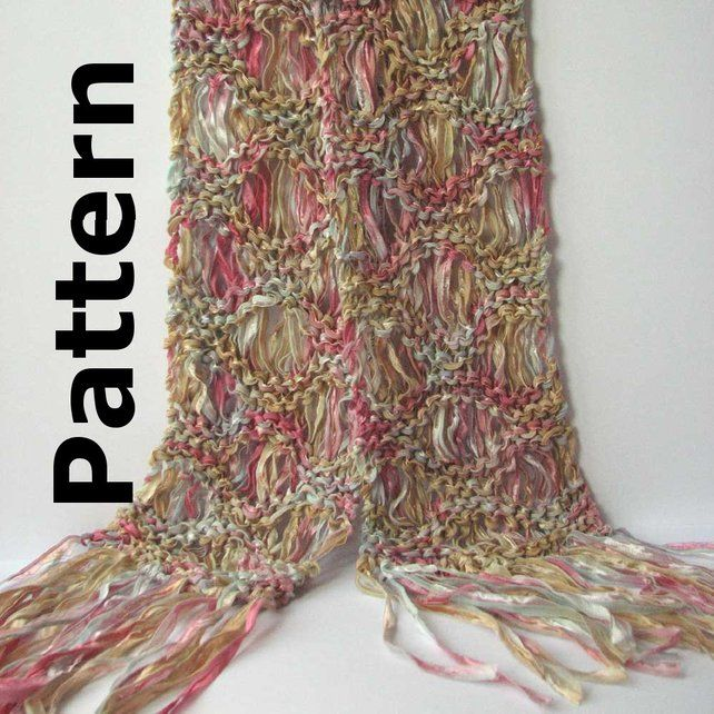 Knitting Pattern Ribbon Yarn Scarf : drop stitch ribbon scarf ... pattern pdf for Ripple drop-stitch lace scarf ...