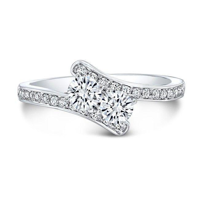 18k White Gold 2 Stone Diamond Ring - 18k White Gold 2 Stone Diamond Ring