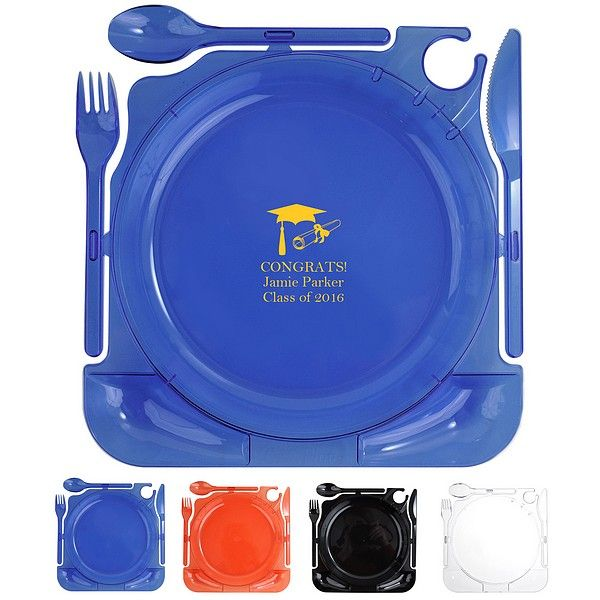 Make your high school graduation party setup and food serving quick and easy with disposable snap-off utensils plastic party plates personalized with choice of graduation design and up to 4 lines of custom print. With these hands-free plates, your guests won't need to worry about gathering their flatware while juggling a plate of food. These convenient cater plates even have a place to hold plastic or glass stemware. Available in black, blue, clear or red to coordinate with your decorations.
