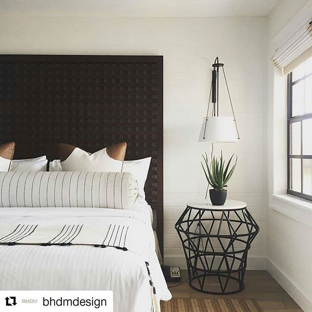 #Repost This hotel room by @bhdmdesign is dreamy. #romanshades ・・・ Install week complete! Here's a #Friday #sneakpeak of our #hotel project at @iotlsebring in #Florida. We had such a blast! . . . . #custom headboard, bedside table by @noirfurniture, sconce by @urbanelectricco, shades by @theshadestore, fabrics by @perennialsfabrics and @swavelle_hospitality, #woodlook #tile floors by @porcelanosa_grupo // #resortchic #lakesideneutral #creamydreamy #stripesonstripes #bronze #marble #teak…