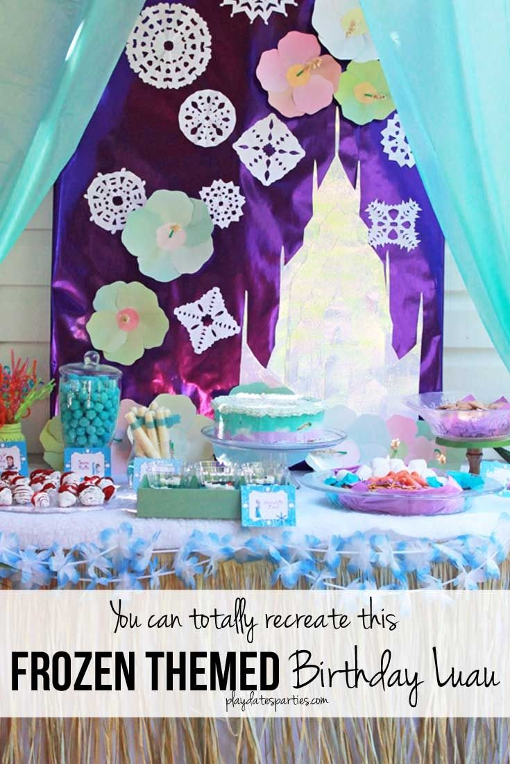 This stunning Frozen luau party is full of easy DIY projects and simple tips that you can absolutely recreate for a special little girl in your life. Including: an Olaf snow flurry, Olaf jello cups, a fake snow beach, a purple and blue ice cream cake, and lots of snowflakes everywhere! http://playdatesparties.com/2017/03/yes-you-can-absolutely-make-this-frozen-luau-party.html