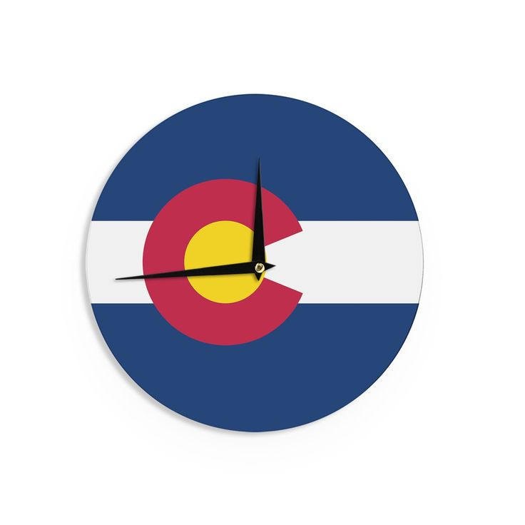 "Kess InHouse Bruce Stanfield Flag of Colorado II"" Blue Red Wall Clock 12"" (Flag of Colorado II) (Wood)"