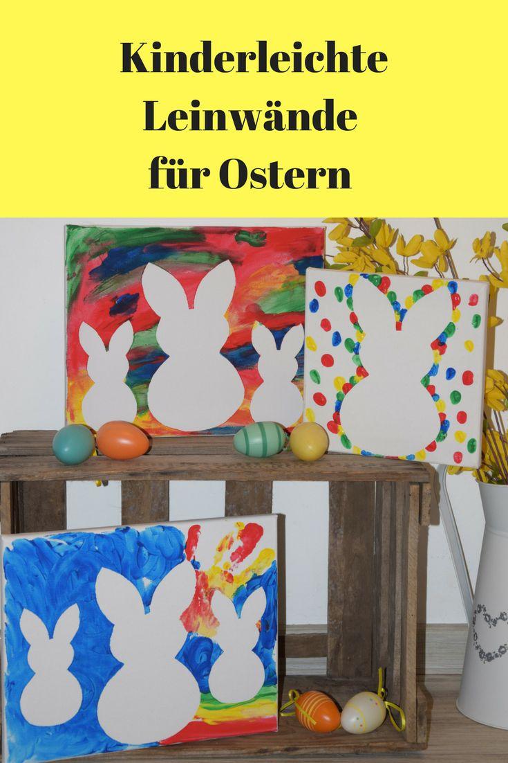 Zu Ostern Leinwände mit Fingerfarben bemalen. Eine kinderleichte Idee für die kreative Familienzeit. Mit süßen Hasen. / Bunnys on Canvas, easy  ea…