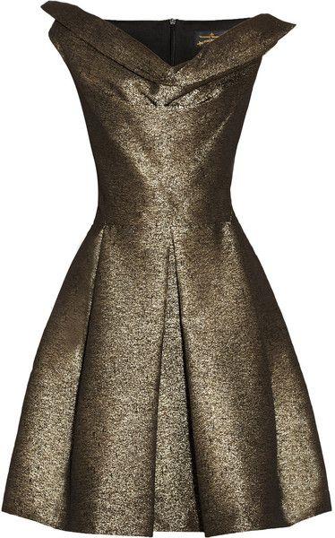 Vivienne Westwood Anglomania Gold Halton Draped Metallic Jacquard Dress