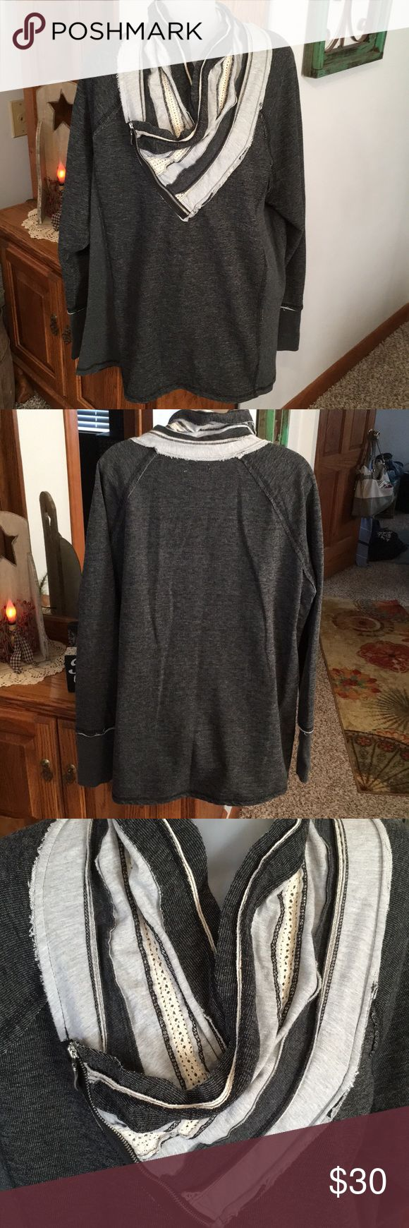 Maurices Plus Size 3 Top Maurices Plus Size 3 Top. So cute!! Collar can be worn a couple of different ways. Purchased at store for $48 and worn twice..,just a little too big.  So many compliments on this Top! Any questions please ask. Thank You 😊 Maurices Tops Sweatshirts & Hoodies