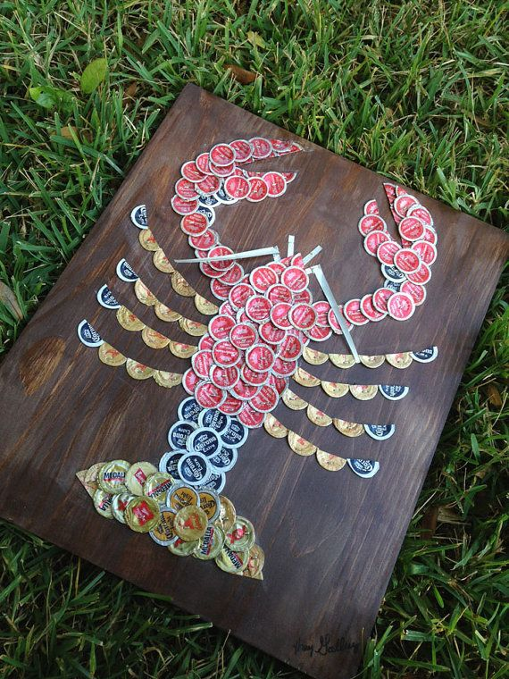 Beer/Bottle Cap Lobster 18 x 12  Signed Original by KaysCapArt