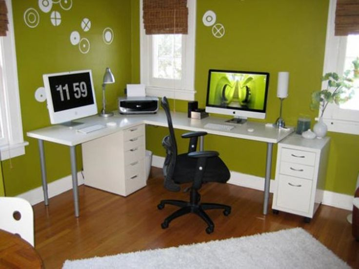 ideas green wall white table fur rug vase desk wood floor computer black swivel chair decorating house ideas office decoration workplace co