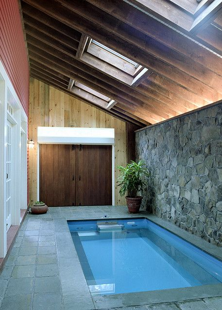 Enless Pools brand pool inside converted barn. My swimming pool would have to be a bit bigger unless this one could be attached to a bedroom.