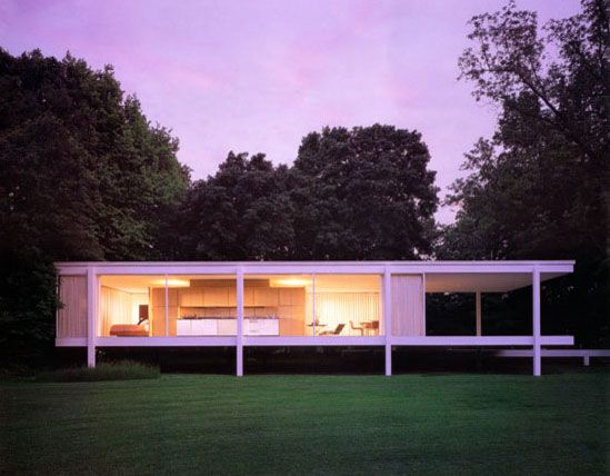 Concept houses. Ludwig Mies van der Rohe, Farnsworth House, Plano, Illinois, 1951. «What if all the walls of a house were glass? »