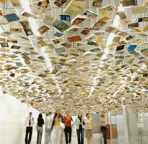 """Suspended """"Bookshelf"""" Installation by Richard Wentworth 