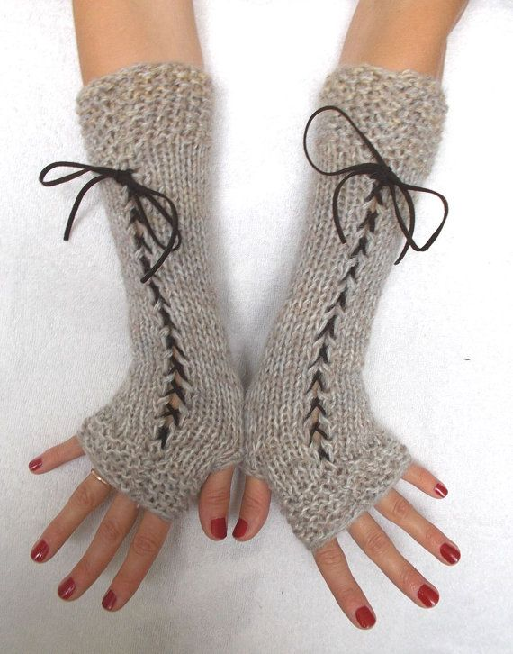 Fingerless Gloves Light Brown Grey Beige Corset Wrist by LaimaShop
