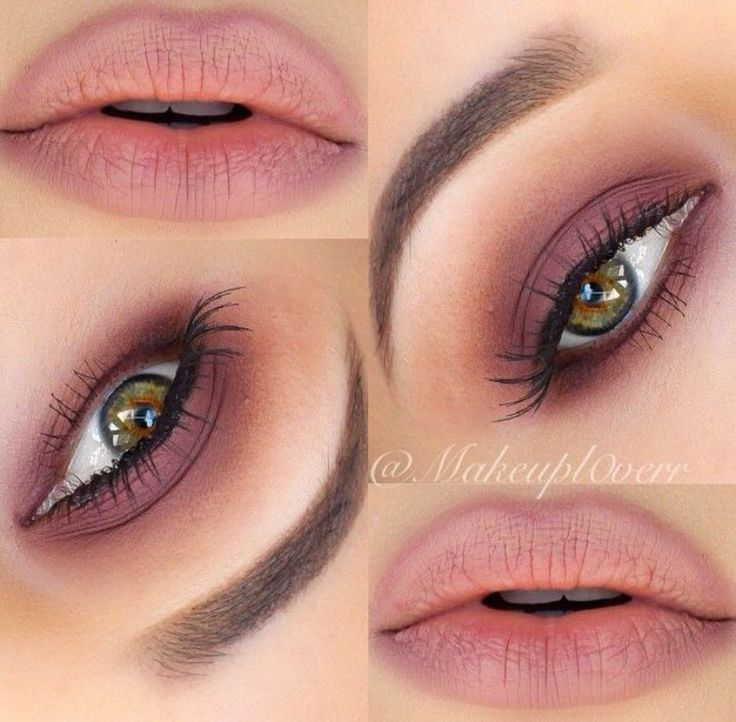Matte rose shadow emphasizes green/hazel eyes beautifully