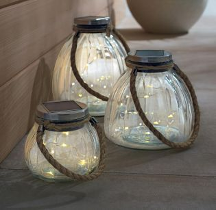 Eco friendly, these 3 Solar Glass Lanterns With Firefly LED's will help light up your garden once the sun drops.