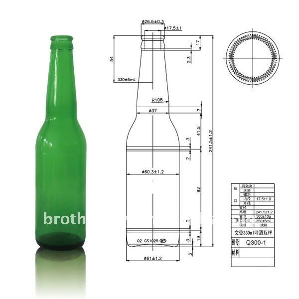 350 Ml De Cristal Verde Botella De Cerveza Bottle