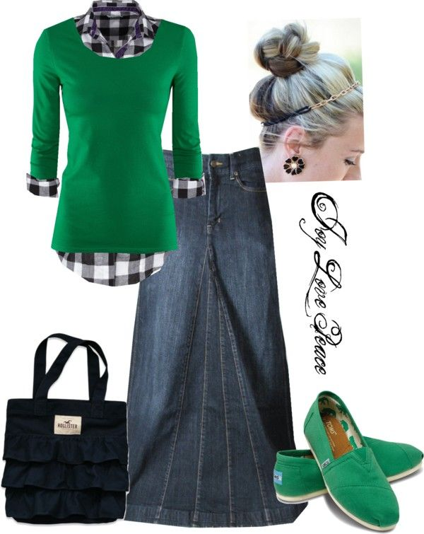 """Green Apple Days"" by audge999 ❤ Love everything about this outfit, especially those green toms!"