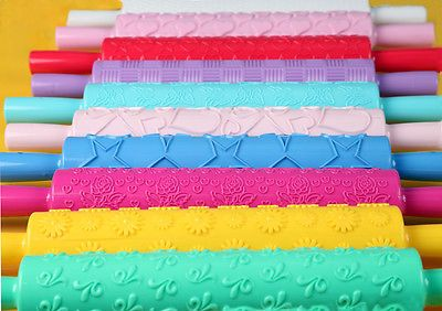 Cake Cookie Fondant Embossed Rolling Pin Sugarcraft Gum Paste Decorating Tools