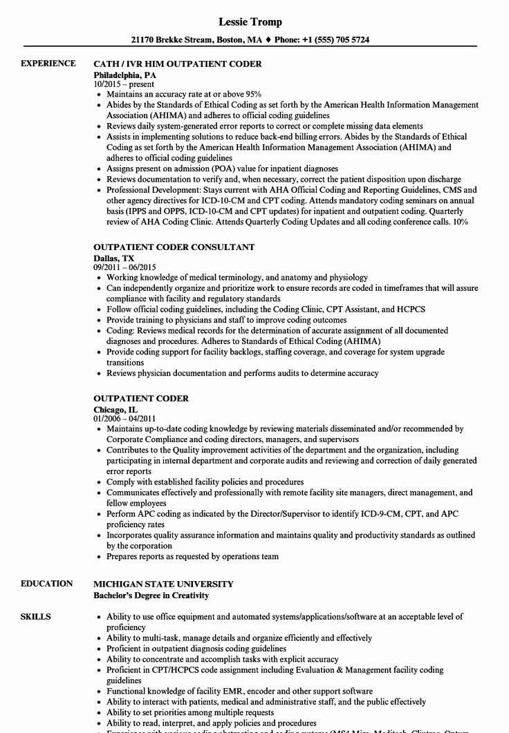 Medical Coder Resume Example Inspirational Outpatient
