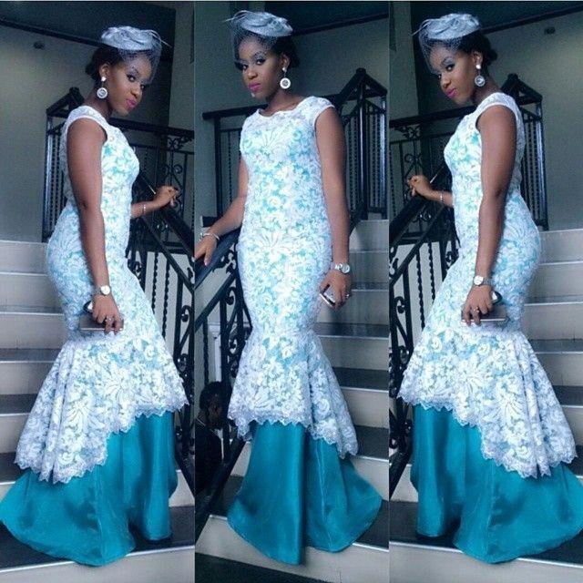 Nigerian Wedding Styles: Nigerian Wedding White & Blue Aso-ebi Colors: