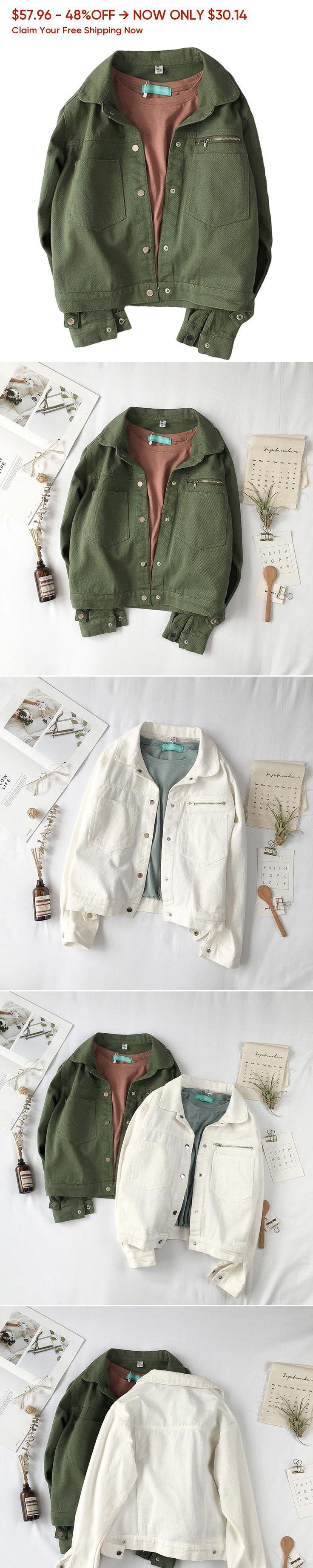 Solid Color Jean Women Jacket 2019 Spring Fashion Brand Basic Coat Harajuku BF Series Jeans Jacket Women ArmyGreen Denim Coat