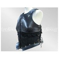 Female Leather Armor Black. Item can be found at http://www.larpcanada.com
