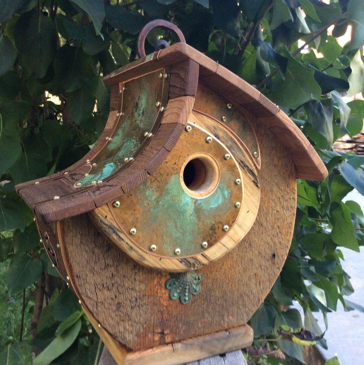 Unique Birdhouse Barnwood Halfmoon Handmade Reclaimed Vintage Birdhouse Gift #1216 by CampbellWoodworks on Etsy https://www.etsy.com/listing/247598925/unique-birdhouse-barnwood-halfmoon