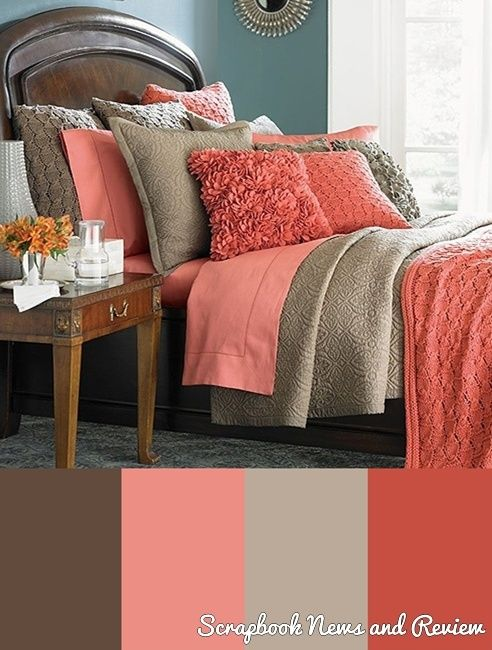 dark color for the duvet, coral sheets, brown bed and taupe walls. LOVE!!!