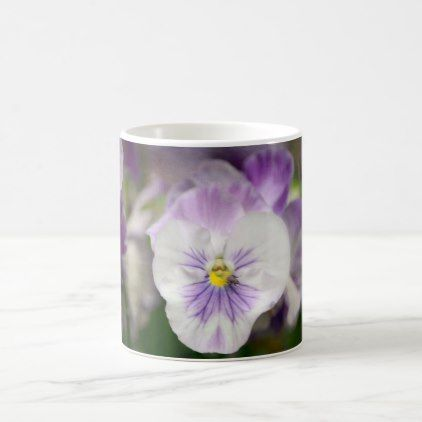 Purple and White Violas by Shirley Taylor Coffee Mug - flowers floral flower design unique style