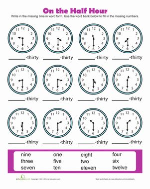 time to the half hour may crafts and activities first grade math worksheets math worksheets. Black Bedroom Furniture Sets. Home Design Ideas
