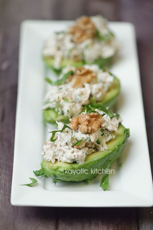 Avocado. Chicken and Walnut Salad