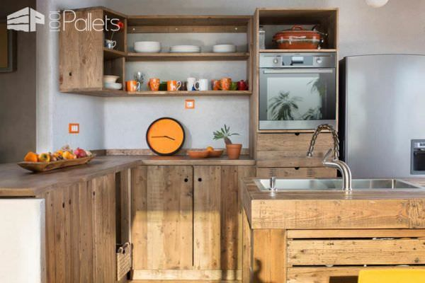 Entire Modern Kitchen Made Out Of Pallets Pallet Desks & Pallet Tables