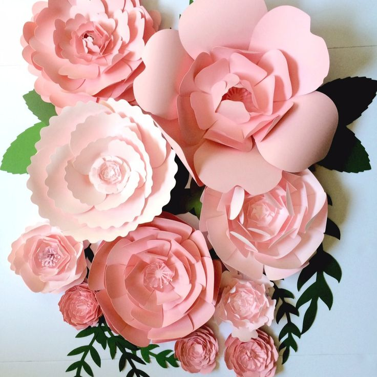Pink Paper Flower Wall Decor, large paper flower backdrop, giant paper flowers by Paper Flora