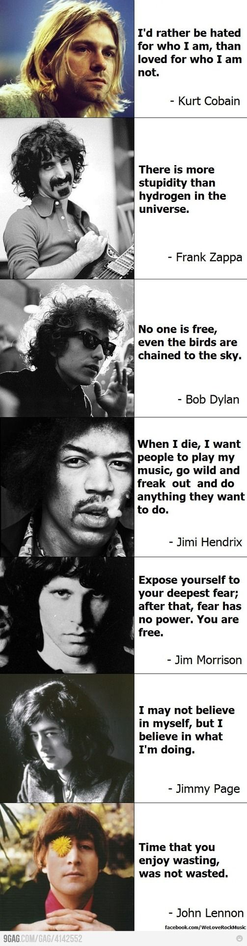 kurt cobain jimi hendrix john lennon Bob Dylan Jim Morrison Jimmy page frank zappa